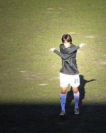 Soccer Photos - Shunsuke Nakamura - Nakamura warming up ahead of Celtic's clash with Dundee United on 5 August 2005