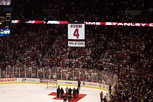 Hockey Photos - Scott Stevens - Stevens was the first Devils player to have his number retired; he was honored at a ceremony at Continental Airlines Arena on February 3