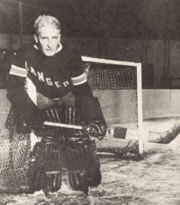 Hockey Photos - Lester Patrick - Lester Patrick's headshot inserted over a picture of Lorne Chabot