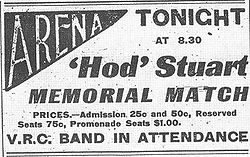 Hockey Photos - Hod Stuart - Newspaper advertisement for the memorial all-star game held to benefit Stuart's family.