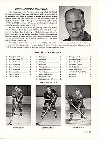 Hockey Photos - John Mariucci - John Mariucci - Coaches Section in a team program.