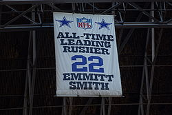 Football Photos - Emmitt Smith - NFL's all-time leading rusher banner from Texas Stadium