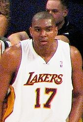 Basketball Photos - Andrew Bynum - Bynum playing in a game against the San Antonio Spurs.