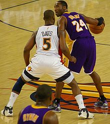 Basketball Photos - Baron Davis - Davis defending Kobe Bryant