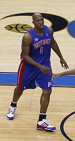 Basketball Photos - Chauncey Billups - Billups playing for the Pistons against the Washington Wizards in 2008.