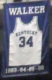 Basketball Photos - Kenny Walker - A jersey honoring Walker hangs in Rupp Arena