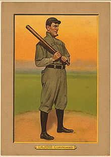 Baseball Photos - Nap Lajoie - Nap Lajoie on a 1911 American Tobacco Company baseball card.