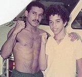 "Boxing Photos - Edwin Rosario - Edwin ""El Chapo"" Rosario with a fan in 1984"