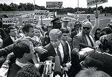 Football Photos - Jack Kemp - Kemp as he leaves a meet-the-candidates rally for 1988 Republican presidential candidates in County Stadium in Union