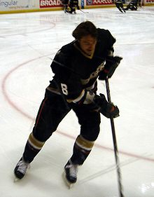 Hockey Photos - Teemu Selanne - Selänne during a pre-game warm-up on April 17