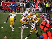 Football Photos - Donald Driver - Donald Driver (lower right) lined up during a game against the Buffalo Bills