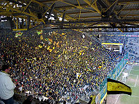 Soccer Photos - Borussia Dortmund - BVB-Supporters in <i>Signal Iduna Park</i> Stadium/South (former <i>Westfalenstadion</i>)