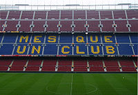 Soccer Photos - Fc Barcelona - One of the stands displaying Barcelona's motto