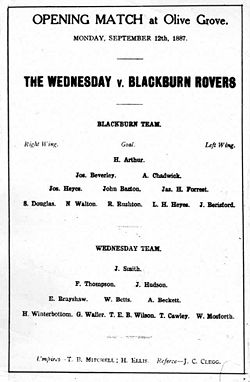 Soccer Photos - Blackburn Rovers F.C. - Leaflet advertising a Blackburn Rovers match on the 12 September 1887 against 'The Wednesday' at Olive Grove