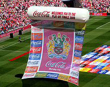 Soccer Photos - Burnley F.C. - The club's badge being displayed on large balloons in the build up to the Championship play-off Final