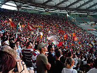 Soccer Photos - A.S. Roma - Roma fans at the Stadio Olimpico.