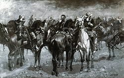 "College Football Photos - Frederic Remington - <font size=""2"">Remington's <i>Cavalry in an Arizona Sandstorm</i> (c. 1889)</font>"
