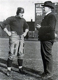 "College Football Photos - Glenn Scobey Warner - ""Pop"" (right) with three-time All-American and University of Pittsburgh team captain Bob Peck during the 1916 season. That year"