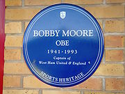 Soccer Photos - Bobby Moore - Sports Heritage Blue Plaque commemorating Bobby Moore at West Ham's Boleyn Ground