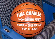 College Basketball Photos - Tina Charles - Commemorative Ball for 1000 points