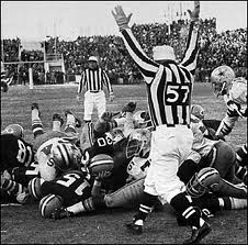 Football Photos - The Block - Bart Starr's helmet at the foot of Jerry Kramer who just blocked Jethro Pugh of the Cowboys.