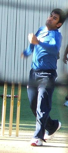 Sports Photos - Ms Dhoni - Dhoni bowling in the nets. He rarely bowls at international level.