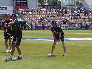 Sports Photos - Paul Collingwood - Collingwood warming up before Englands ODI against Australia at the Rose Bowl.