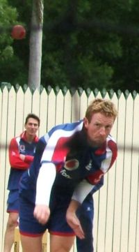 Sports Photos - Paul Collingwood - Collingwood bowls in the nets at Adelaide Oval.