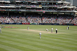 Sports Photos - Cricket - A Test match between South Africa and England in January 2005. The men wearing black trousers are the umpires. Teams in Test cricket.