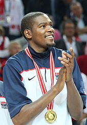 College Basketball Photos - Kevin Durant - Durant after receiving the gold medal at the 2010 FIBA World Championship
