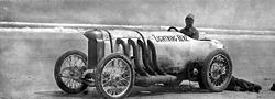 Motorsports Photos - Barney Oldfield - Barney Oldfield sitting in his Blitzen Benz at Daytona (undated)