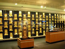 College Basketball Photos - NCAA March Madness - NCAA-style trophies for various sports as seen at UCLA.