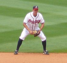 Baseball Photos - Kelly Johnson (Baseball) - Johnson playing second base for the Braves in 2008.