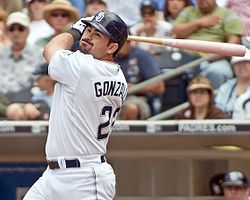 Baseball Photos - Adrian Gonzalez - Gonzalez after a swing with the Padres