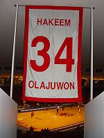 Basketball Photos - Hakeem Olajuwon - One of only five numbers retired by the University of Houston men's basketball team