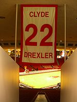 College Basketball Photos - Clyde Drexler - One of only five numbers retired by the University of Houston men's basketball team