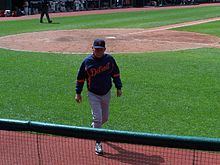 Baseball Photos - Jim Leyland - Leyland walks to dugout at Progressive Field