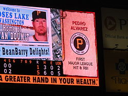 Baseball Photos - Pedro Alvarez - Alvarez's first major league RBI and hit recorded on the scoreboard of PNC Park on June 19