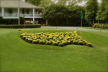 Golf Photos - The Masters Tournament - Masters logo on the club grounds