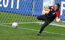 Soccer Photos - Germany Women's National Football Team - Nadine Angerer saved a penalty in the 2007 Women's World Cup final