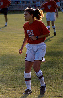 Soccer Photos - Mia Hamm - Hamm in pregame workout.