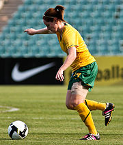 Soccer Photos - Collette Mccallum - McCallum in action for the Matildas.