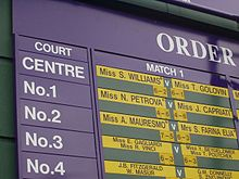 Tennis Photos - Wimbledon Championships - The order of play for all courts is displayed on boards around the grounds
