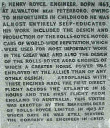 Motorsports Photos - Henry Royce - The statue inscription