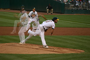 Baseball Photos - Dan Haren - Pitching in a game against the Seattle Mariners