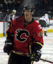 Hockey Photos - Jordan Leopold - Leopold during his second tenure with the Flames