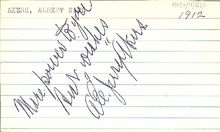 Baseball Photos - Jerry Akers - Akers' autograph on a note card