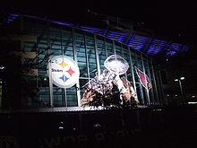 Football Photos - 2009 SUPER BOWL XLIII - Stadium with Lombardi Trophy decoration