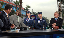 Football Photos - 2007 SUPER BOWL XLI - The NFL Today pre-game show with officers of the U.S. Air Force Thunderbirds.