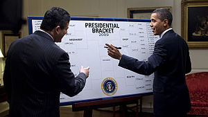"College Basketball Photos - 2009 NCAA Men's Division I Basketball Tournament - United States President Barack Obama filled out his picks for the NCAA Men's Division I Tournament. He picked North Carolina to win the National Championship when he shared his ""Barack-etology"" with ESPN's Andy Katz on March 18"